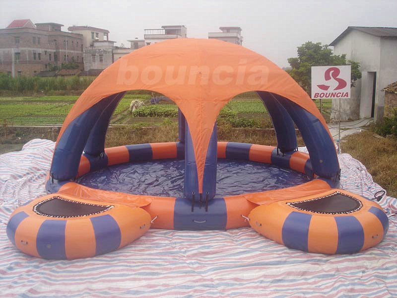 Inflatable Water Pool With Tent Cover And Platform For Water Walking Ball