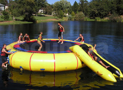 0.9mm PVC Tarpaulin Inflatable Water Trampoline Combo Used In Lake