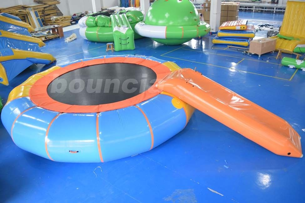 Durable PVC Tarpaulin Inflatable Water Bouncer / Trampoline For Pool